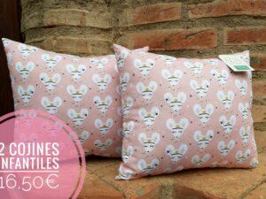 conjunto 2 cojines infantiles color rosa